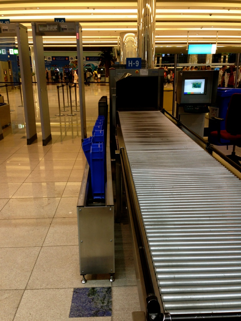 Trays go on a trolley to automatically go back at the start of security