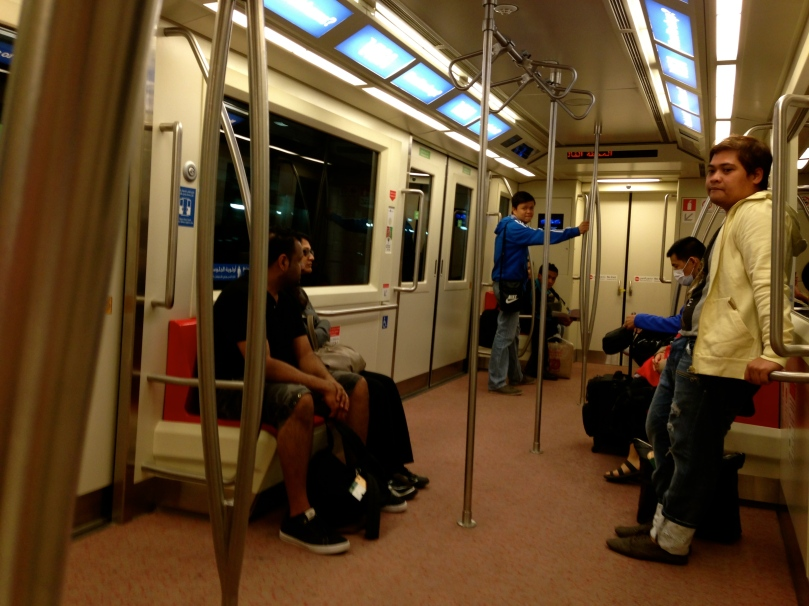 Inside the train.
