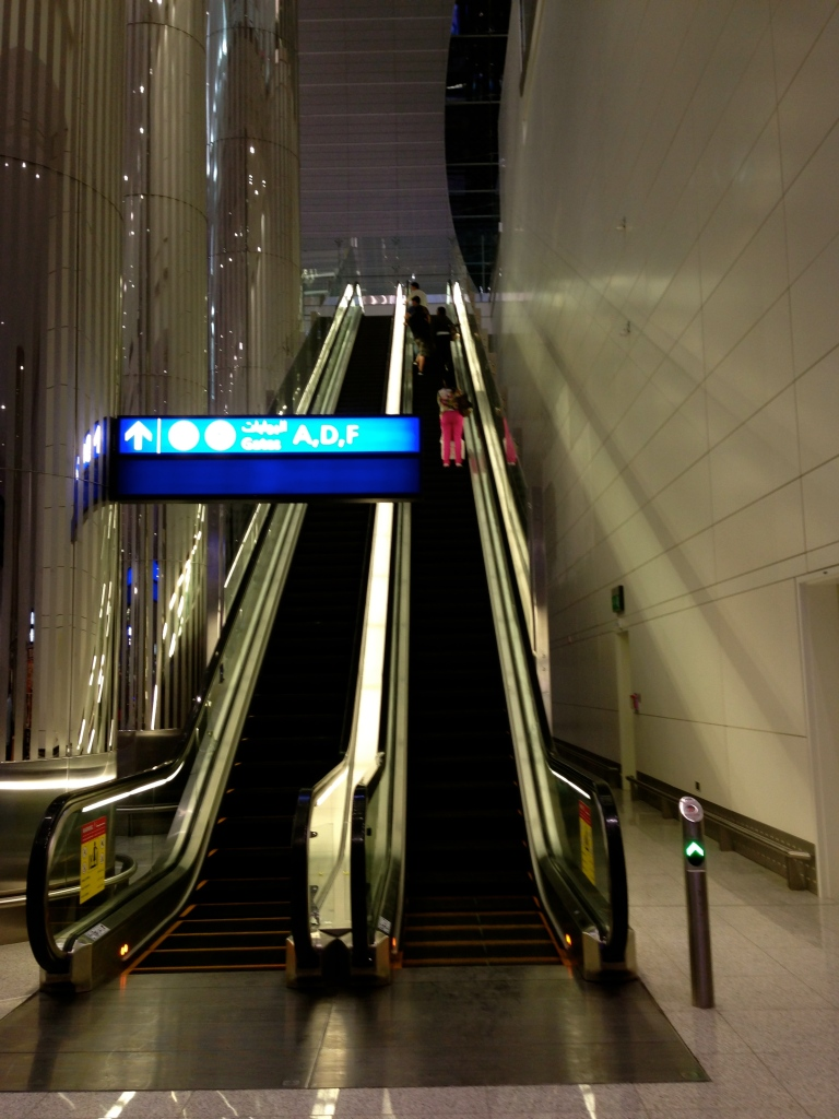 As you get off the train, you'll see this escalator.