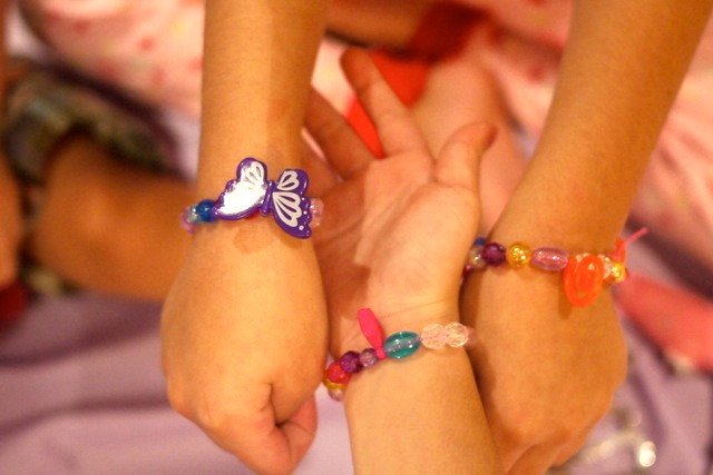 And these were the bracelets they made which they wore during the party.