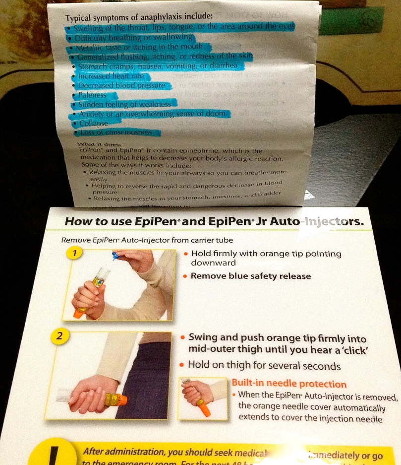 Some information when using an epipen.