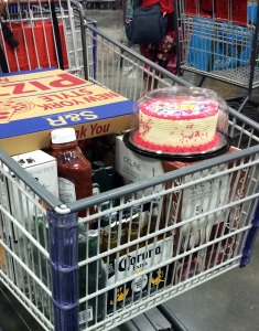 There's BIRTHDAY CAKE!  (don't mind the other stuff in the cart..BAD, very bad for kids :-P )