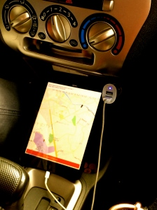 In each Uber car, you'll see an iPad which is where the drivers are prompted the location of their next passenger.