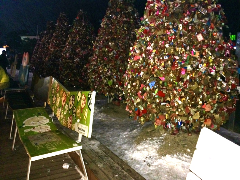 You'd also see the love bench and trees covered with love locks.