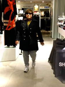 Feeling so young in her H&M trousers.
