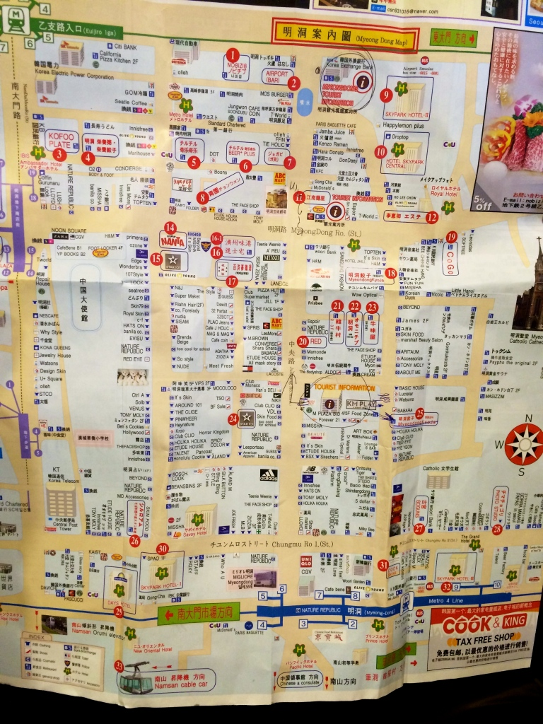 Here's a map of Myeong Dong shopping area.